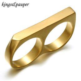 muy buenas flores Rebajas Titanio de acero inoxidable Modelos de nudillo de cobre Signet encanto de los anillos de los hombres de joyería punky del motorista masculino Dos Dedos Negro Color de los anillos de regalo