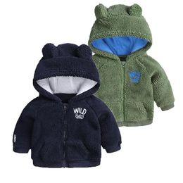 Argentina 2018 INS Invierno bebé niña abrigo bebé niño ropa Fleece chaqueta Orejas calientes abrigos outwear Rosa Blanco Azul marino Verde 3 6 9 12 18M Venta al por mayor cheap girls cute pink jackets Suministro