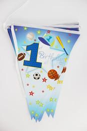 1 º filho ao atacado Desconto Atacado-12flags Padrão dos desenhos animados 1º menino do esporte Tema Festa de Aniversário Decoração Festa Banner Para Crianças suprimentos para crianças