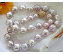 Grande collana di perle rosa online-Charme 11-12mm enorme naturale South Seas Pink Pearl Necklace 18inch 14K Clasp