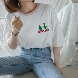 Wholesale Punk Japanese Fashion - 2017 Women'S Japanese Punk Harajuku Ulzzang Block Cartoon Embroidered Cactus T-Shirt Female Kawaii Cute Tee And Top For Women