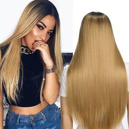 2019 perruques de 26 pouces Perruque de coiffure pour femmes Perruques synthétiques longues et droites Vogue Perruque Blonde perruques pour femmes Perruques synthétiques résistantes à la chaleur pour femmes 26 pouces 4 couleurs promotion perruques de 26 pouces