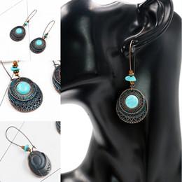 Wholesale european bead earrings wholesale - Bohemian Women Alloy Dangle Wedding Earrings Fashion Turquoise Round Flower Earrings European Beads Dangle Earring Jewelry Free DHL G975R