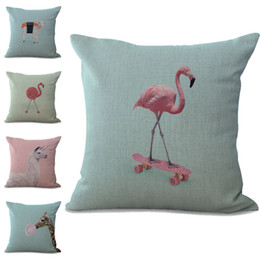 linen giraffe cushion cover Promo Codes - Flamingo Sheep Giraffe Animal Pillow Case Cushion cover linen cotton Throw Square Pillowcase Cover Drop Ship 300749