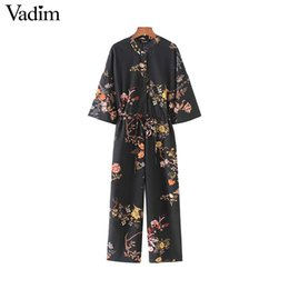 Wholesale Vintage Playsuits - Vadim women vintage floral jumpsuits wide leg pants bow tie belt elastic waist pockets rompers female chic playsuits KZ1175