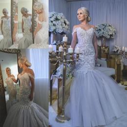 Wholesale luxurious dresses dubai - Delicate Mermaid Lace Wedding Dresses Arabic Dubai Vestidos Luxurious Bridal Gowns Floor Length Off Shoulders Appliqued Beadins