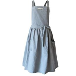 Wholesale Skirts For Work - Brief Nordic wind Pleated skirt cotton linen apron Coffee shops and flower shops work cleaning aprons for woman washing daidle
