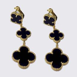 Fleur de coquillage noir en Ligne-Wholsale vente chaude marque 925 argent trèfle à quatre bijoux pour les femmes 3 boucles d'oreilles trèfle shell blanc noir rouge vert multi couleurs