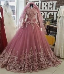 Robe de bal manche rose en Ligne-Blush Pink Appliques High Neck Quinceanera robes de bal avec des manches longues en corsage Lace Up Back formelle robes de soirée sur mesure Robes de bal
