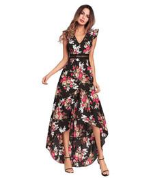 Back out dresses on-line-Mulheres Longo Boho Vestido de Verão Floral Com Decote Em V Backless Oco Out Vestidos Boêmio A Linha Frente Curto Longo Irregular