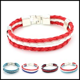 Wholesale Game Day Bracelet - 12 Designs World Cup Football Olympic Game Multi-layers PU Leather Wristbands Jewelry Handmade Bracelets Braid Cord Strand
