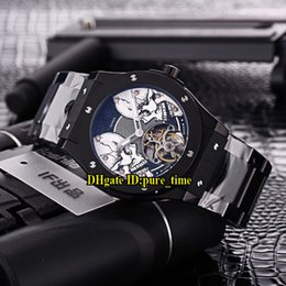 Wholesale tourbillon cheap - Cheap New Big Size 45mm Double White Skull Dial Tourbillon Asian 2813 Automatic Mens Watch PVD Black Steel Band High Quality Sports Watches