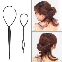 Wholesale hair clip loop - Braiders ponytail plastic loop black pony tail clip hair braiding tool one big large