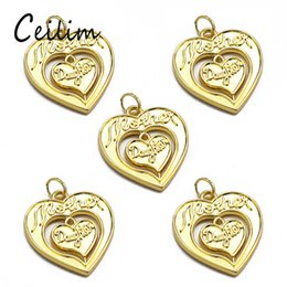 Wholesale Fit Components - Hollow Out Mother And Daughter Double Heart Charms For Jewelry Finding Components DIY Nacklace Jewelry Pendant Fit Mother's Day Gifts New