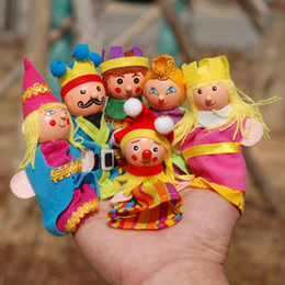 Wholesale Wooden Animals Heads - Cartoon Emperor's New Clothes Cloth Animal hand puppet clown prince finger puppet Wooden head learning aid dolls cloth play game