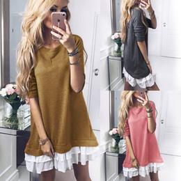 Wholesale Basic Mini Dress - Women Ruffle Patchwork Long Sleeve Dress Round Neck Splice Loose Woman Basic Mini Dress Women Tops Pullover Blouse 3 Colors OOA4562