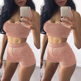 Wholesale Tube Jumpsuits - Women Shinny Tube Top Shorts Two Piece Set Outfits Short Sport Jumpsuit Running Suit