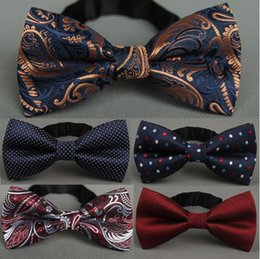 Wholesale Wedding Ties For Men Green - RBOCOTT Men's Bow Tie Gold Paisley Bowtie Business Wedding Bowknot Dot Blue And Black Bow Ties For Groom Party Accessories