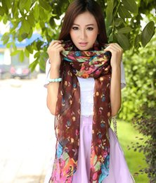 Wholesale Lightweight Fashion Scarves - Fashion Women's Voile Soft Floral Print Infinity Scarf Spring Autumn Cozy Lightweight Big Hijab Wraps Scarves Shawls for Ladies