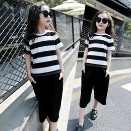 Wholesale Mo Pants - Children Autumn Stripe Short Sleeves T-shirt and Wide Leg Seven-length Pants Kids Clothing Sets For Girls and Mother