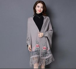 Wholesale Cashmere Ponchos For Women - winter fashion cashmere flower embroider poncho with sleeve for women