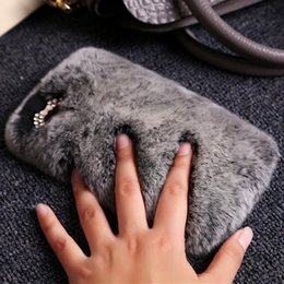 Wholesale Leather Jewelry Pouches - 2018 autumn and winter women's jewelry Rex Rabbit handphone shell mobile phone plush luxury fur protective sleeve tide real leather sleeve