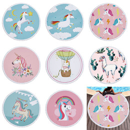 Wholesale Wholesale Baby Baths - Unicorns Beach Towel 150*150cm Round Beach Towels 2018 Summer Swimming Bath Towels cartoon Shawl Yoga Mat 16 colors baby Blanket C3828