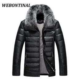 Wholesale Blue Fox Fur Xl - WEBONTINAL Down Jacket Men Leather Jacket Male Down Coat Jackets Windproof Warm Fox Fur Collar NEW 2017 Autum Winter