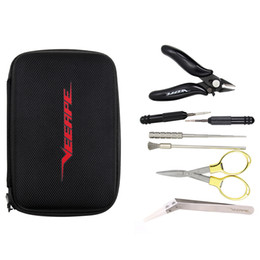 Wholesale jig bags - 100% Original Veeape E Cigarette Tools Vape Tools Kit Carry Bag With Tweezer Pliers Coil Brusher Jig Scissors For DIY Atomizer RDA RTA RBA