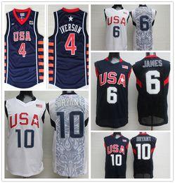 Wholesale Dream Team Usa Shirt - NCAA Wholesale 2008 USA Dream Team #6 LeBron James Jersey #10 Kobe Bryant Basketball Jerseys 2004 Athens 4# Allen Iverson Shirts