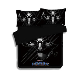 Wholesale panther cover - 2018 New 3D Bedding Set Black Panther Pattern Duvet Cover Set Polyester Printed Bed Linens Bedroom Twin Full Queen King Size