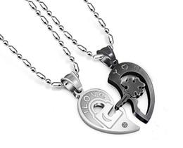 Wholesale heart diamond pendants - Titanium Steel Diamond Key Puzzle Couple Lovers Heart Necklace Pendant Statement Choker Necklace Hot Sale High Quality Korean Jewelry Gift