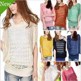 79688799f38 Wholesale- Spring summer women loose Crochet knitted blouse wears batwing hollow  pullover sweaters top Knit Tops Jumper Sweater JH654682