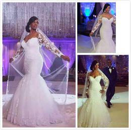 2019 vestido de novia sirena lentejuelas rhinestone Vestidos de novia africanos fuera del hombro mangas largas de encaje apliques de encaje por encargo de la sirena vestidos de boda más tamaño barato vestido de novia