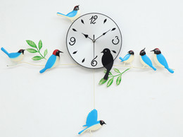 Wholesale Painting Wall Orange - A060 wall clock clocks painting birds home decor decoration new design swing garden blue orange red