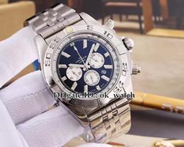Melhor pulseira de relógio de aço inoxidável on-line-Nova chegada Quartz Chronograph Relógio Dos Homens AB014012 47mm big dial pulseira de aço inoxidável de Alta qualidade barato Gents melhor relógio do esporte