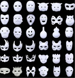 Wholesale White Pulp Mask - New White Unpainted Face Plain Blank Version Paper Pulp Mask DIY Mask Masquerade Masque Mask 1000pcs IB382