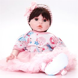 Wholesale mini princess doll figure - Reborn Baby Dolls Baby Growth Partners, Headband Pink Bow to Accompany Sleep Little Princess 22inch 55cm