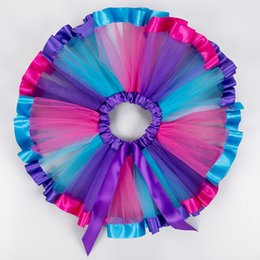 Wholesale tutu skirts for children - Children Rainbow Skirt girls tutu baby skirt christmas rainbow children skirts tutu fluffy skirt for girl dancing party ball gown