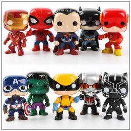 Wholesale pops vinyl - 10cm FUNKO POP 10pcs set Justice Action Figures Avengers Super Hero Characters Model Vinyl Action Figures Novelty Items CCA9573 10set