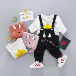 Wholesale bamboo bibs - Clothing Sets Children's clothing autumn cat ears bamboo cotton bibs adjustable children's Siamese suspenders two suits