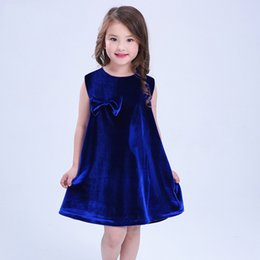 red blue pageant dresses Australia - Toddler Girls Velvet dress Kids Summer Bowknot Sleeveless Dress Red Blue Wedding Pageant Sundress Mini Clothes