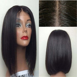 Wholesale Cheap Cosplay - Black Bob Wigs Synthetic Lace Front Wig Short Hair Wigs For Women Cheap Black Wigs Heat Resistant Cosplay Lace Front Synthetic Hair