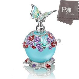 Wholesale restore antiques - H&D 23ML Beauty Antique Colorful Flower Restoring Glass Perfume Bottle with Butterfly Empty Refillable Container Stopper Gifts