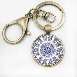 Wholesale Religious Pictures - 2017 Fashion Henna Art Picture Keychain Geometry Abstract Mandala KeyChain Glass Key Ring Buddhism Religious Jewelry