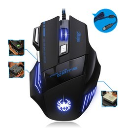Wholesale Gaming Peripherals - Gamer Optical Gaming Wired Mouse 7 Button LED 5500 DPI mice games office peripherals accessories For computer PC Laptop