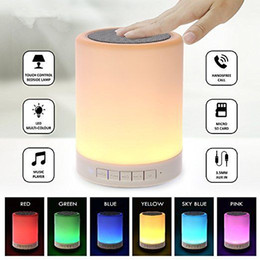Wholesale wireless night lights - Bluetooth Wireless LED Touch Speaker Stereo Sound Colorful Light Lamp Music Player Loudspeaker Portable Night Lighting TF Card