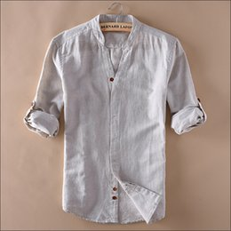 Wholesale Chinese Summer Clothes - Man Summer Linen Shirts V-Neck Long Sleeve Fashion Slim Fit Chinese Style Summer Shirt For Man Clothing Wt1050