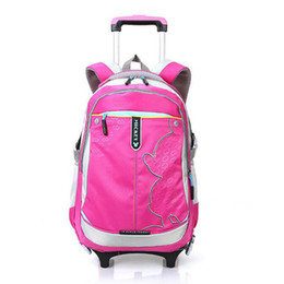 wheeled trolley backpacks Promo Codes - 2018 Korean Version Preppy Trolley School Bag Girls High Quality Canvas Waterproof wheeled Backpack Removable School Backpack