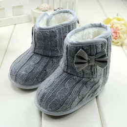 пряжа Скидка Обувь для малышей Fashion Bowknot Soft Sole Winter Warm Woolen Yarn Shoes Boots 0- 6M Baby Girl Boys Toddler